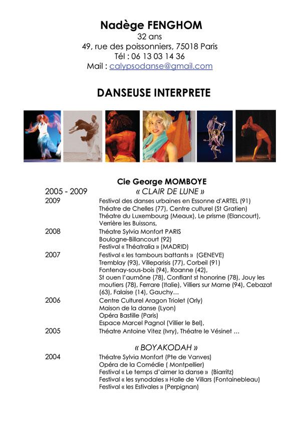 nadege fenghom  cv  calypso danse  curriculum vitae